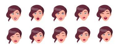 Uppsättning av sinnesrörelser för kvinna` s Flickaframsida med den olika ansiktsuttrycksamlingen Färgrik vektorillustration i läg royaltyfri illustrationer