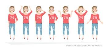 Uppsättning av sinnesrörelser och gester till den unga kvinnan royaltyfri illustrationer