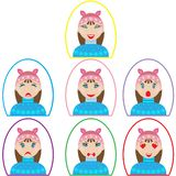 Uppsättning av sinnesrörelsesymboler flicka i vinterkläder i oval ram i plan stil stock illustrationer