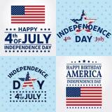 Uppsättning av självständighetsdagenhälsningkort, reklamblad Självständighetsdagenaffischer Patriotiskt baner för websitemall Vek stock illustrationer