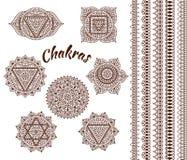 Uppsättning av sju chakras Österlänningprydnader och gränser för hennatatuering och för din design Dekorativa beståndsdelar för b Arkivfoton