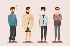 Uppsättning av sjukt folk som känner sig opassligt, huvudvärken och att ha förkylning, den säsongsbetonade influensa-, hosta stock illustrationer