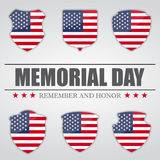Uppsättning av sköldar med USA flaggan inom för Memorial Day också vektor för coreldrawillustration Royaltyfri Fotografi