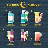 Uppsättning av skönhetsmedel för aftonhudomsorg Infographics på momenten av hudomsorg med medicinska skönhetsmedel Framsidakräm,  vektor illustrationer