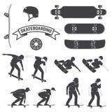 Uppsättning av skateboard- och skateboarderssymbolen också vektor för coreldrawillustration stock illustrationer