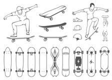 Uppsättning av skateboarder, utrustning och beståndsdelar av gatastil Arkivfoton