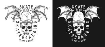 Uppsättning av skateboarding emblem Arkivbilder