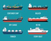 Uppsättning av skepp i modern plan stil Arkivbilder