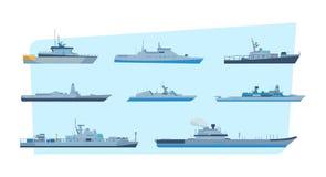 Uppsättning av skepp i modern plan stil: skepp fartyg, färjor royaltyfri illustrationer