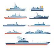 Uppsättning av skepp i modern plan stil: skepp fartyg, färjor stock illustrationer