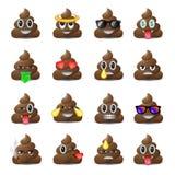 Uppsättning av sket symboler som ler framsidor, emoji, emoticons Royaltyfria Bilder
