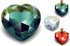 Uppsättning av skinande diamanthjärtor. Fotografering för Bildbyråer