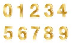 Uppsättning av skinande nummer för guld- metall stock illustrationer
