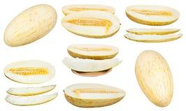 Uppsättning av skivade isolerade Uzbekisk-ryss melon Royaltyfria Foton