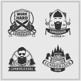 Uppsättning av skogsarbetareetiketter och emblem royaltyfri illustrationer