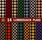 Uppsättning av skogsarbetaren Plaids Seamless Patterns i 14 färger Royaltyfri Fotografi