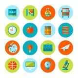 Uppsättning av skola- och utbildningssymboler Arkivbild