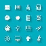 Uppsättning av skola- och utbildningssymboler Arkivbilder