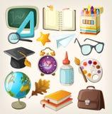 Uppsättning av skolaobjekt. stock illustrationer