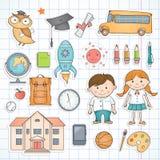 Uppsättning av skolaobjekt vektor illustrationer