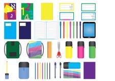 Uppsättning av skolatillförselbeståndsdelar Stock Illustrationer