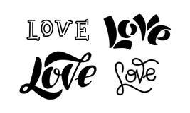 Uppsättning av skriftlig bokstäver för svartvit hand om förälskelse royaltyfri illustrationer