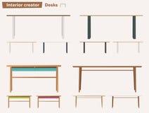 Uppsättning av skrivbord för inre den främmande tecknad filmkatten flyr illustrationtakvektorn royaltyfri illustrationer