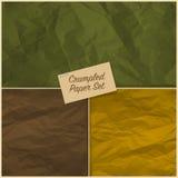 Uppsättning av skrynklig pappers- textur Arkivfoto