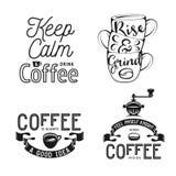 Uppsättning av släkt typografi för kaffe Citationstecken om kaffe Tappningvektorillustrationer stock illustrationer