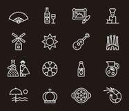 Uppsättning av släkta symboler för spanjor Fotografering för Bildbyråer