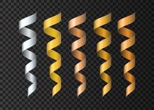 Uppsättning av slingrande realistiska guld-, silvriga kopparband vektor illustrationer