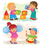 Uppsättning av små barn för vektorsymboler som spelar med leksaker vektor illustrationer