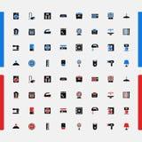 Uppsättning av små symboler eps 10 för elektronikkyl för konsument 3d spis gjord elektrisk packning vektor stock illustrationer