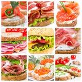 Uppsättning av smörgåsar Royaltyfria Bilder