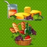 Uppsättning av smaklig och sund mat Arkivbilder