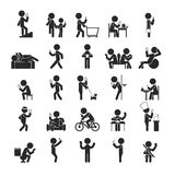 Uppsättning av Smartphone böjelse, mänskliga pictogramsymboler stock illustrationer