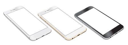 Uppsättning av Smartphones med den tomma skärmen som ligger på plan yttersida Fotografering för Bildbyråer