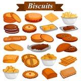 Uppsättning av smaskiga blandade kakor och den ljusbruna matefterrätten vektor illustrationer