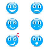 Uppsättning av smileysymboler med framsidauttryck Arkivfoton