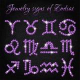 Uppsättning av smyckensymboler med tecken av zodiak royaltyfri illustrationer