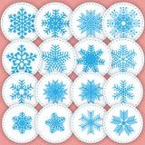 uppsättning av snöflingaklistermärkear Denna illustration kan användas som ett p Arkivfoton