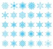 Uppsättning av 36 snöflingor Royaltyfri Bild