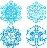 Uppsättning av snöflingor - 4 Arkivbilder