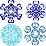 Uppsättning av snöflingor - 3 Fotografering för Bildbyråer