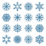 Uppsättning av snöflingor, vektorillustration Arkivfoto