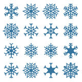 Uppsättning av snöflingor, vektorillustration Royaltyfri Fotografi