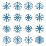 Uppsättning av snöflingor, vektorillustration Royaltyfri Bild