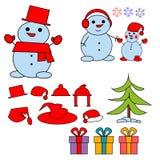 Uppsättning av snögubben för vinterferier Gladlynta snögubbear i olika dräkter också vektor för coreldrawillustration royaltyfri illustrationer