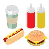 Uppsättning av snabbmat, hamburgaren, varmkorven och flaskan med senapsgult ketchup Arkivbilder