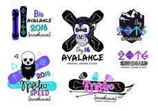 Uppsättning av snowboardlogoer, emblem och designbeståndsdelar Arkivfoto
